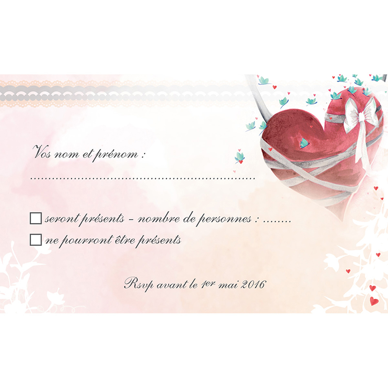 Carton réponse mariage Sensibilis  pas cher