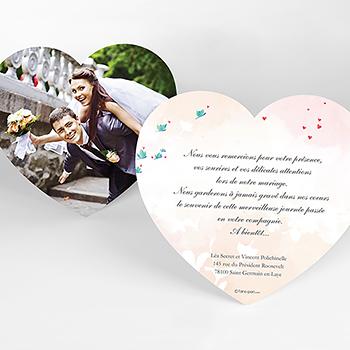 Carte de remerciement mariage Sensibilis coeur