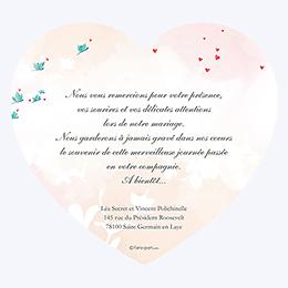 Carte de remerciement mariage Sensibilis coeur pas cher