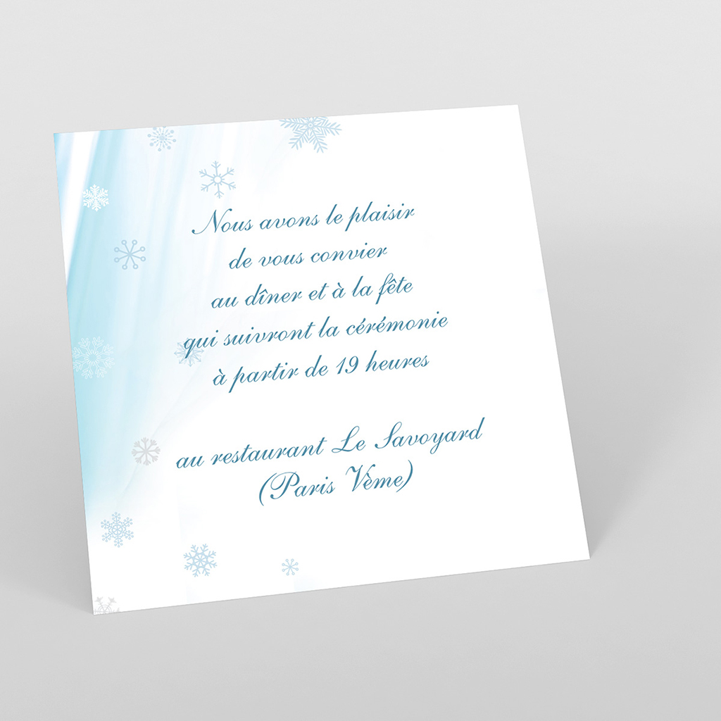Carte d'invitation mariage Mariage en hiver