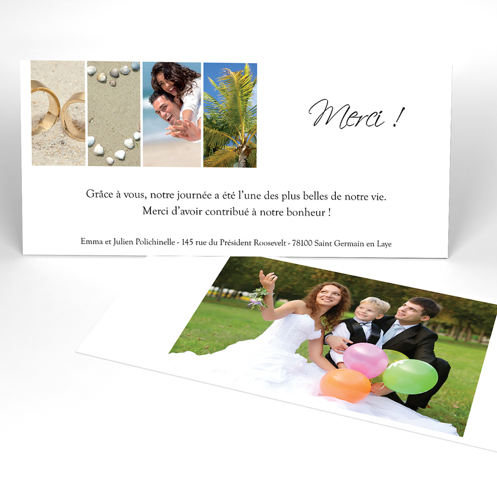 Carte de remerciement mariage Pano simple photos vierges