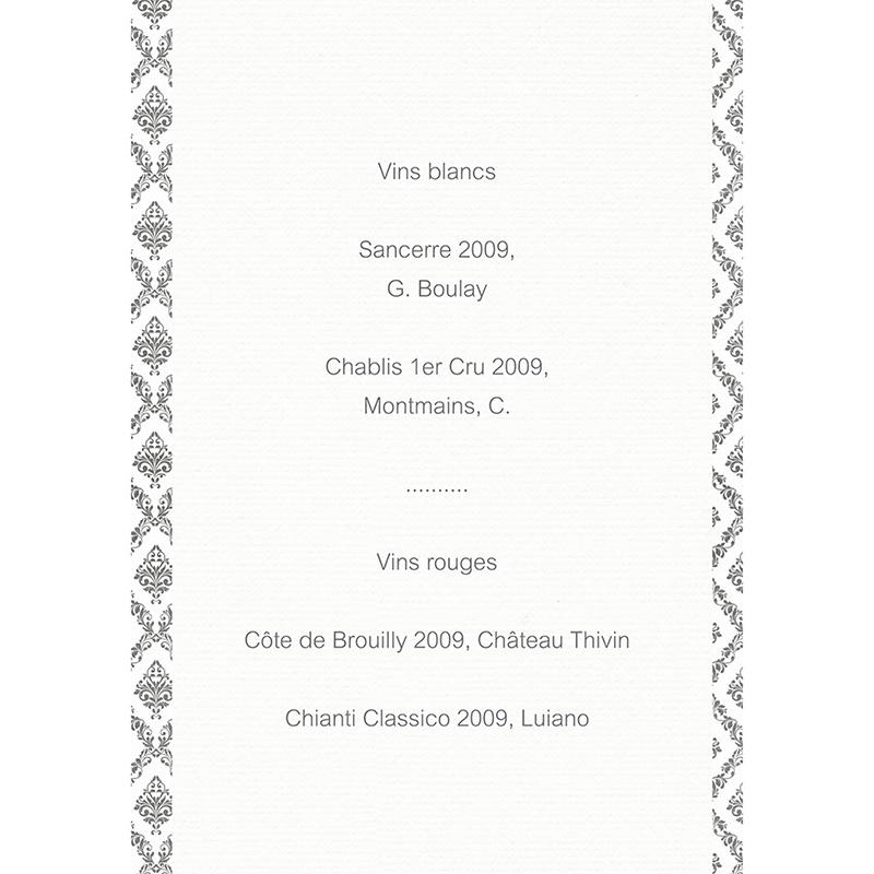 Menu mariage Baroque  gratuit
