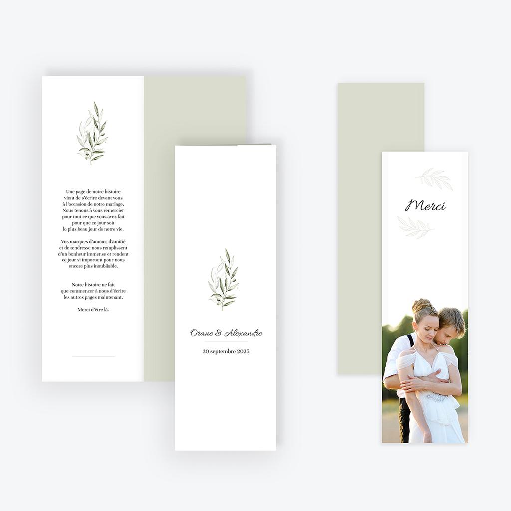 Carte de remerciement mariage Olivier de Provence gratuit