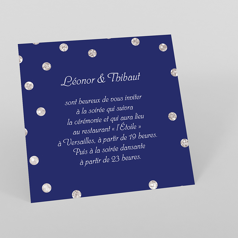 Carte d'invitation mariage Un jour d'amour bleu argent