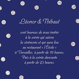 Carte d'invitation mariage Un jour d'amour bleu argent pas cher