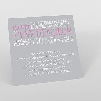 Carte d'invitation mariage Jeu de mots gris