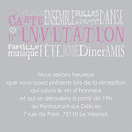 Carte d'invitation mariage Jeu de mots gris pas cher