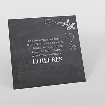 Carte d'invitation mariage Ardoise