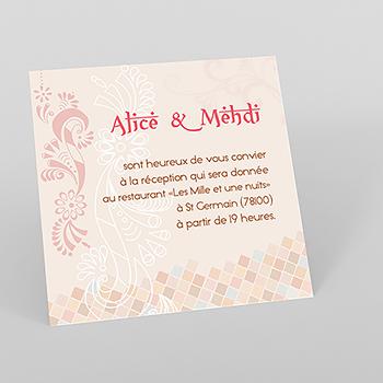 Carte d'invitation mariage Oriental
