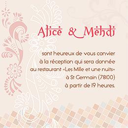 Carte d'invitation mariage Oriental  pas cher