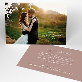 Carte de remerciement mariage Elégance