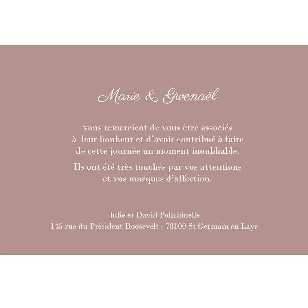 Carte de remerciement mariage Elégance gratuit