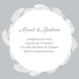 Carte d'invitation mariage Plume pas cher