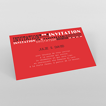 Carte d'invitation mariage New york rouge