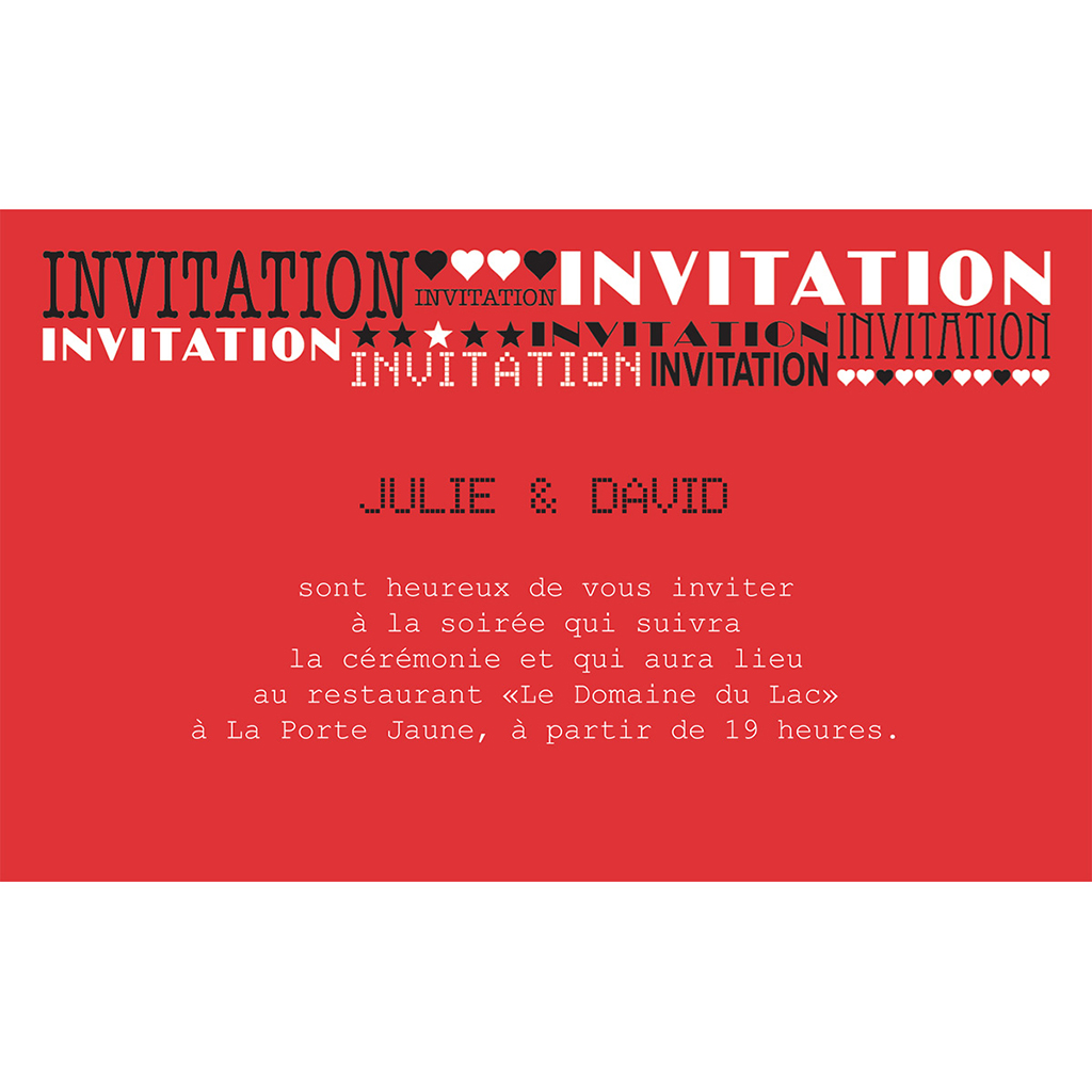 Carte d'invitation mariage New york rouge  pas cher