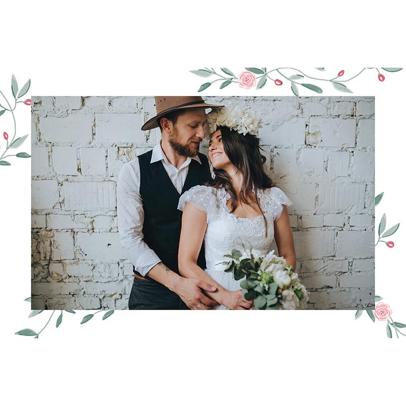 Carte de remerciement mariage Feuillage gratuit