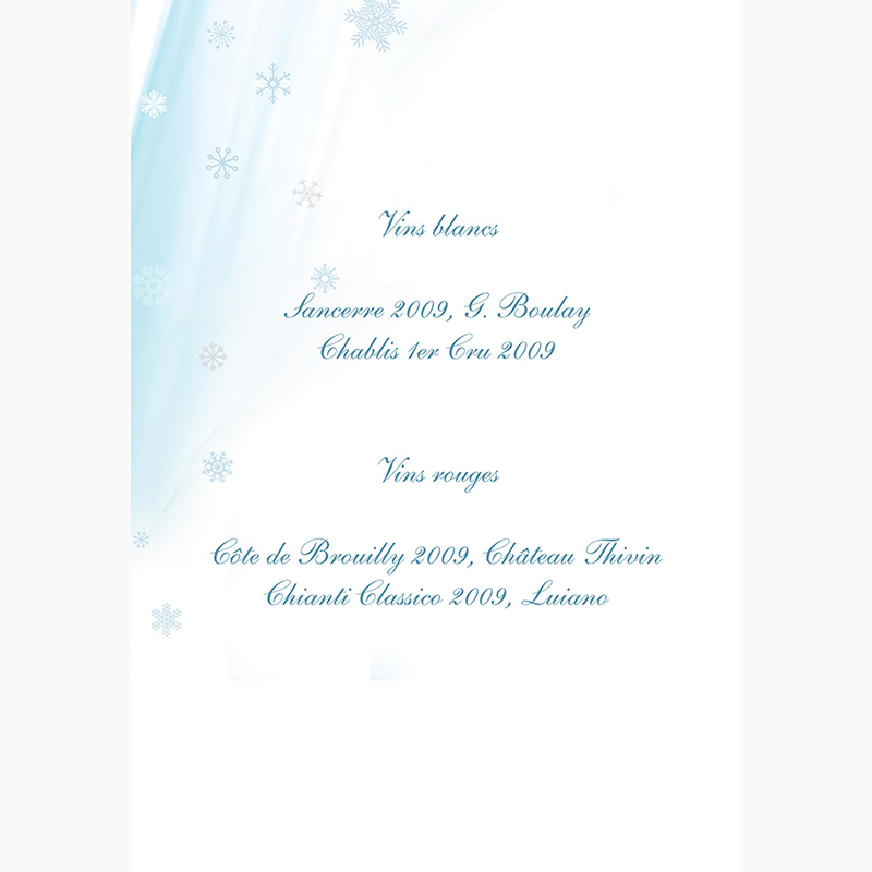 Menu mariage Mariage en hiver  gratuit