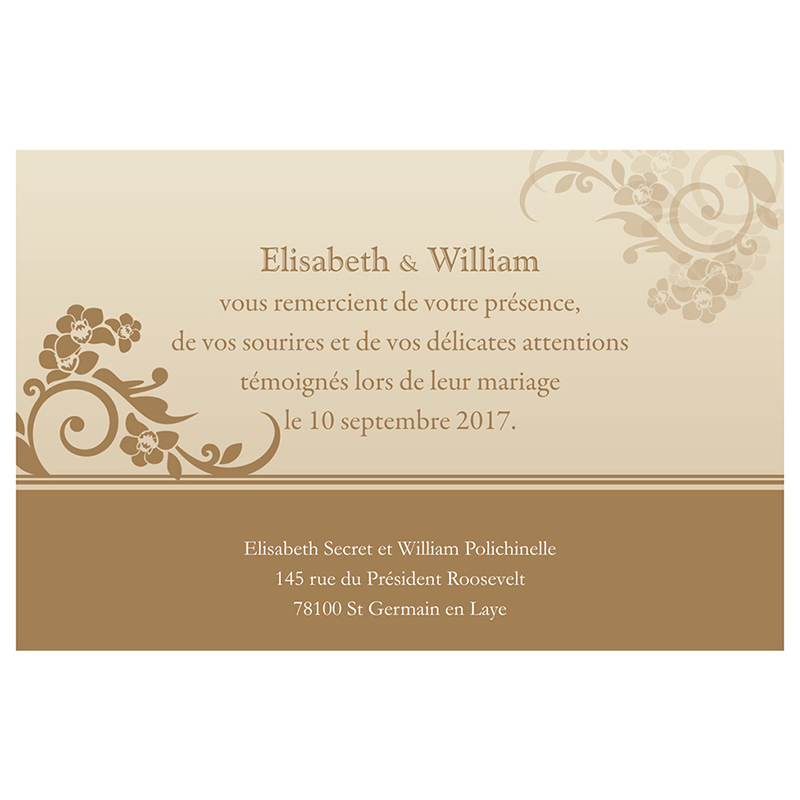Carte de remerciement mariage Cérémonie doré pas cher
