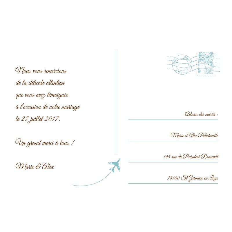 Carte de remerciement mariage Ulysse et Pénélope  pas cher