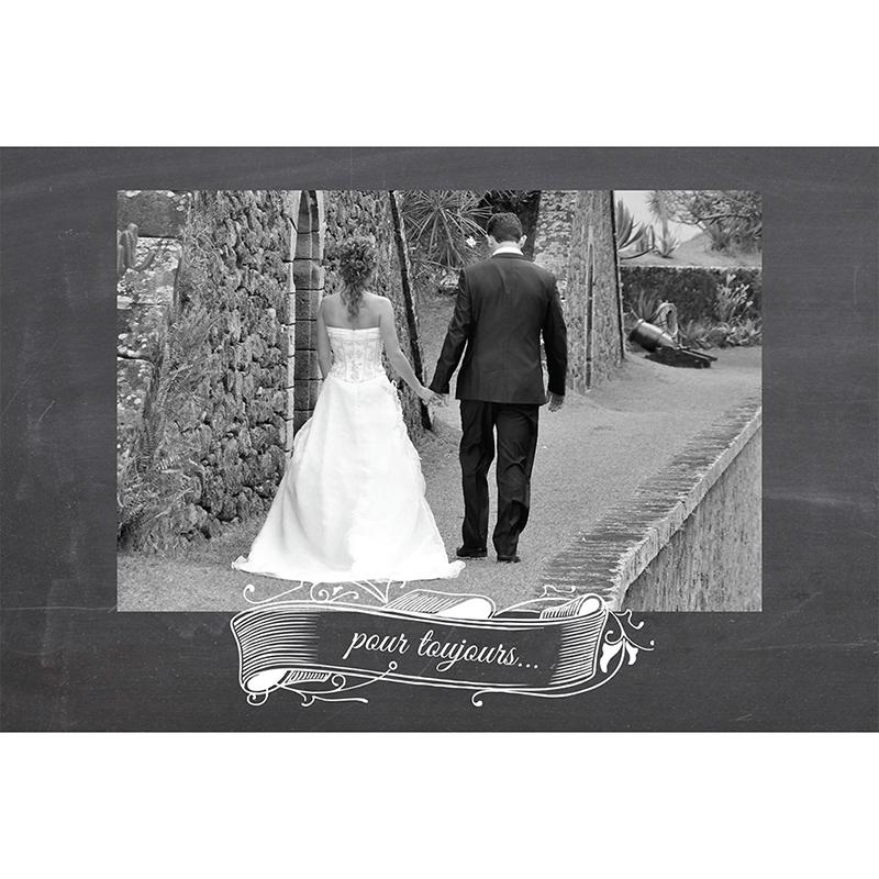 Carte de remerciement mariage Ardoise  gratuit