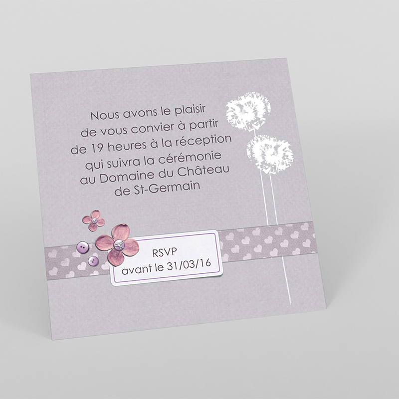 Carte d'invitation mariage Scrap'mauve