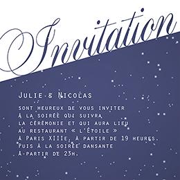 Carte d'invitation mariage Nuit étoilée  pas cher
