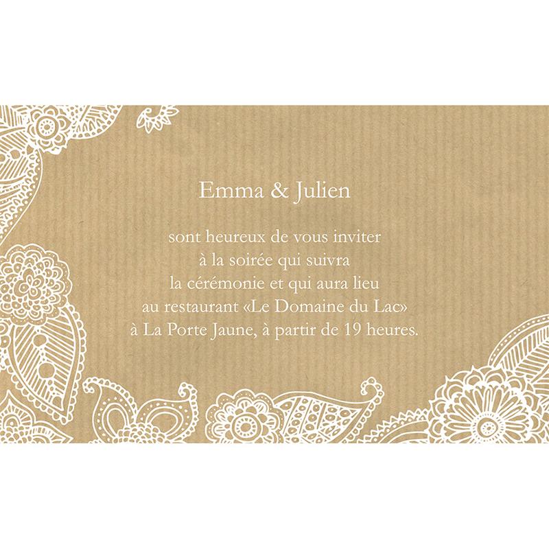 Carte d'invitation mariage Romantique  pas cher