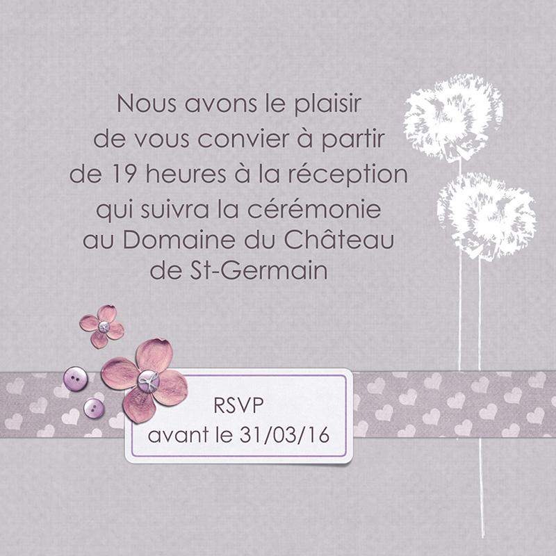 Carte d'invitation mariage Scrap'mauve  pas cher