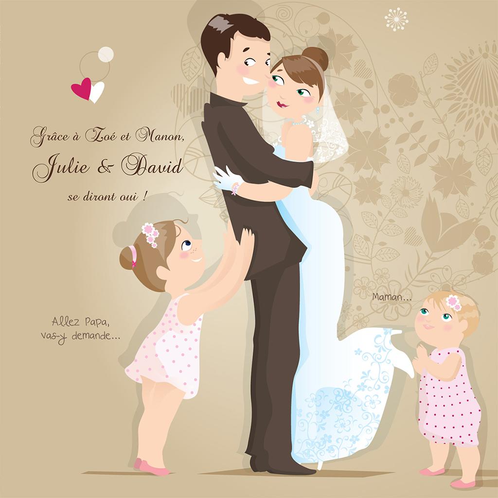 Faire-part de mariage Youpi 2 filles pas cher