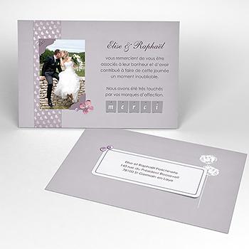 Carte de remerciement mariage Scrap'mauve