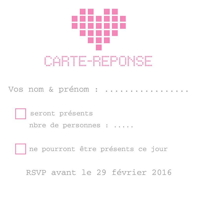 Carton réponse mariage Love.com  pas cher