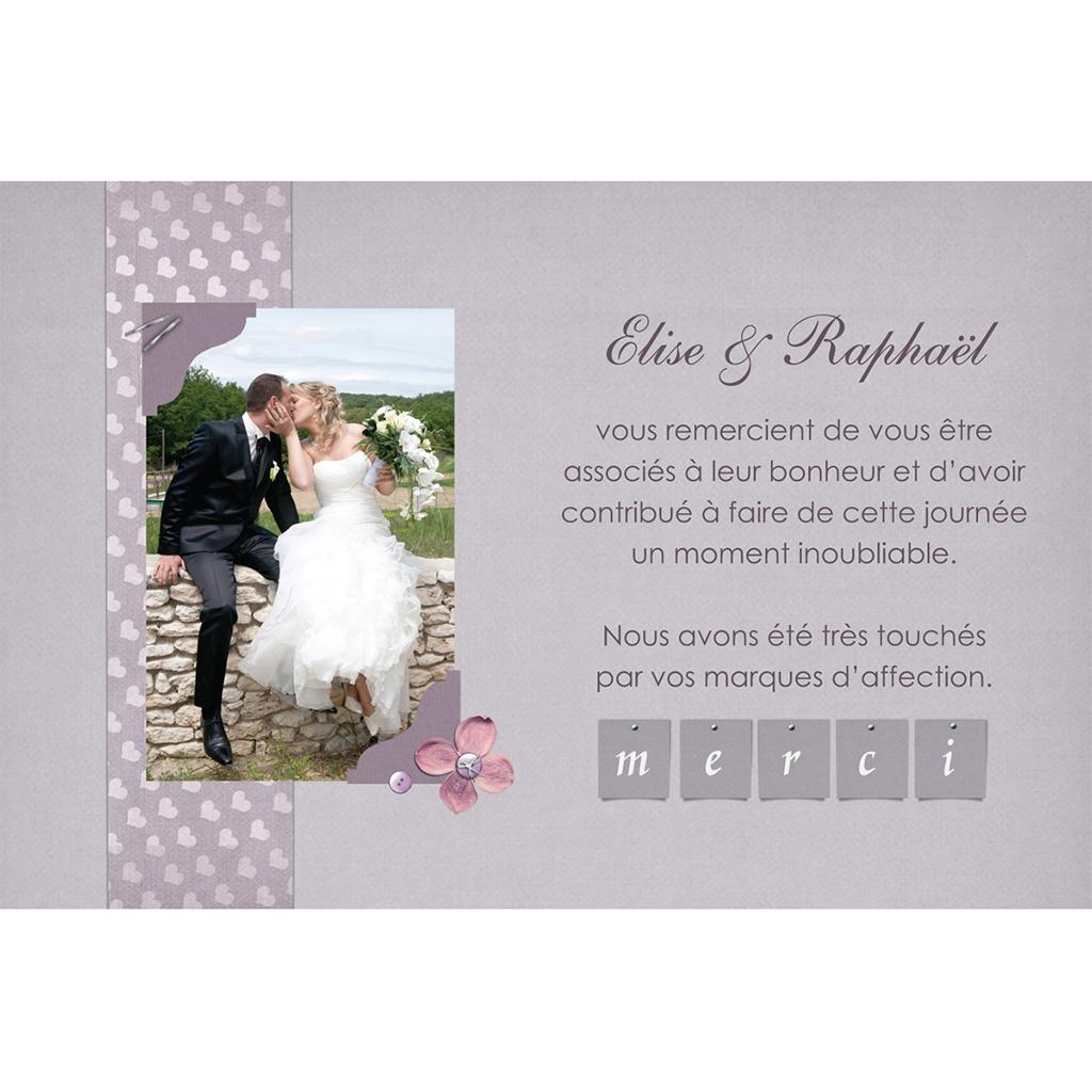 Carte de remerciement mariage Scrap'mauve  pas cher