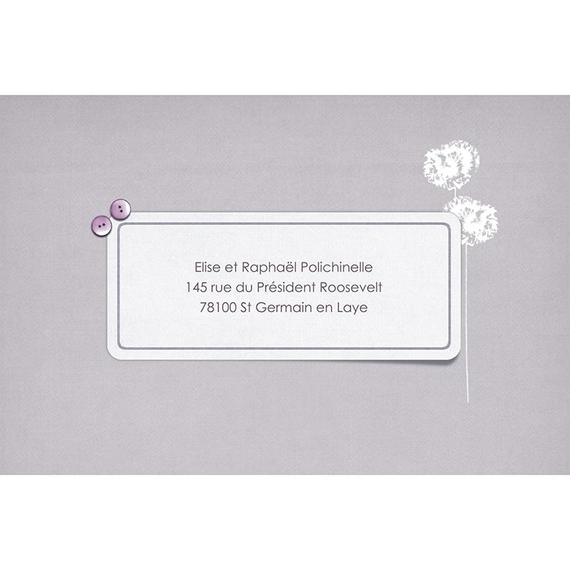 Carte de remerciement mariage Scrap'mauve  gratuit