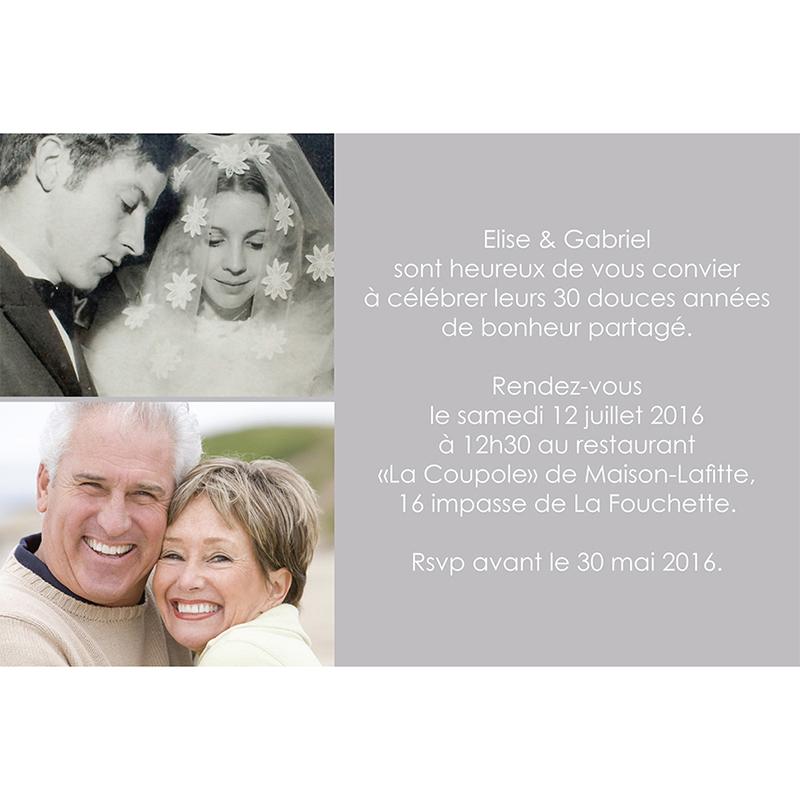 Carte anniversaire de mariage Jeu de mots gris gratuit