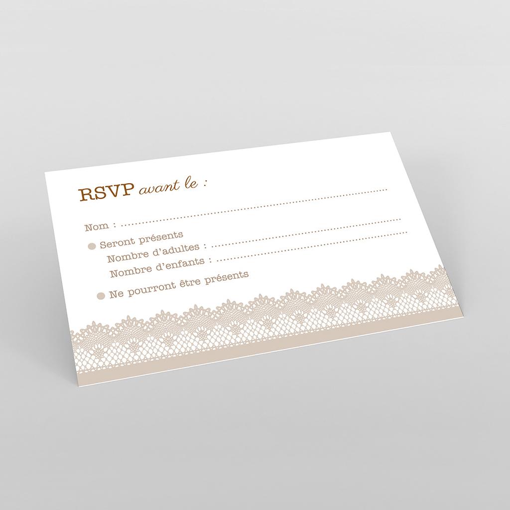 Carton réponse mariage Dentelle Vintage
