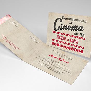 Faire-part de mariage Cinéma Vintage
