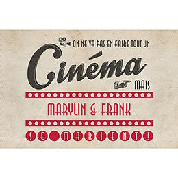 Faire-part de mariage Cinéma Vintage  pas cher