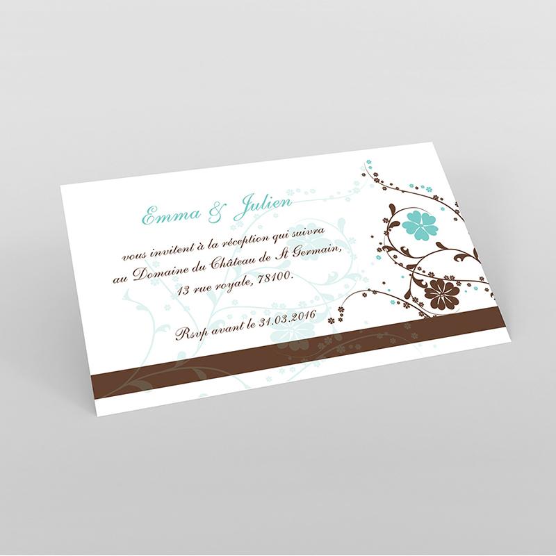 Carte d'invitation mariage Nuptial chocolat turquoise