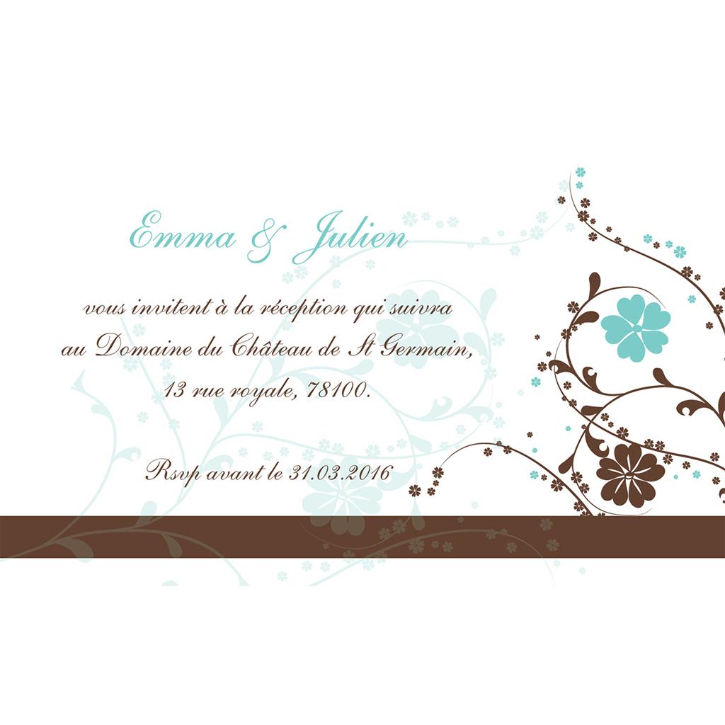Carte d'invitation mariage Nuptial chocolat turquoise pas cher
