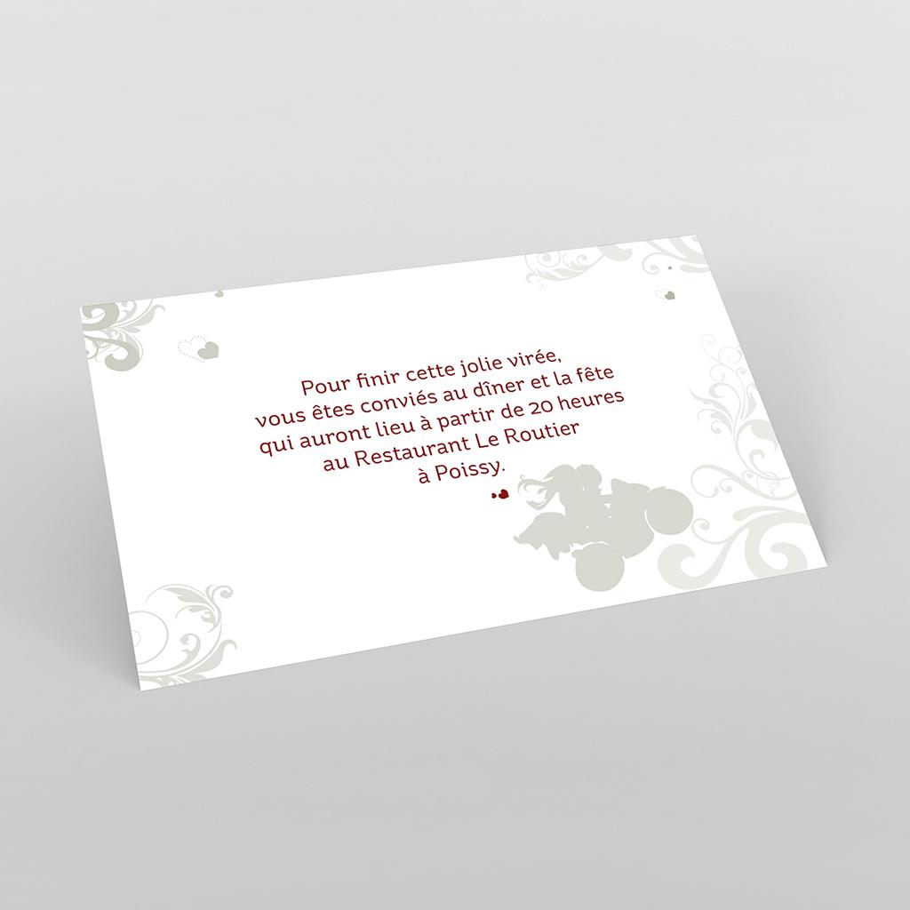 Carte d'invitation mariage Une moto pour 2