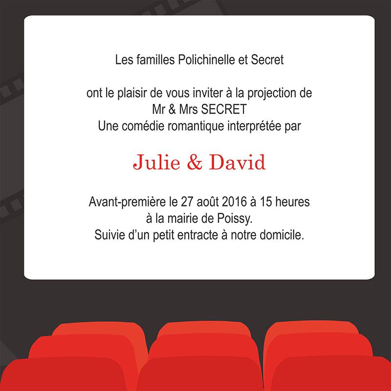 Faire-part de mariage Cinéma