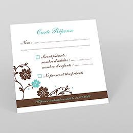 Carton réponse mariage Nuptial rond chocolat turquoise