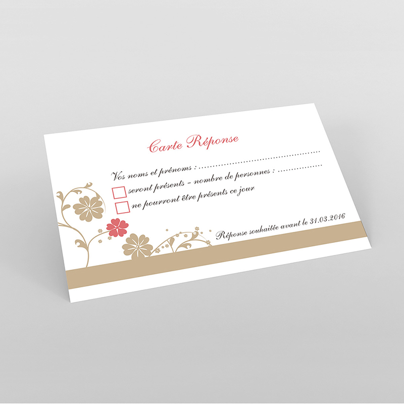 Carton réponse mariage Nuptial doré