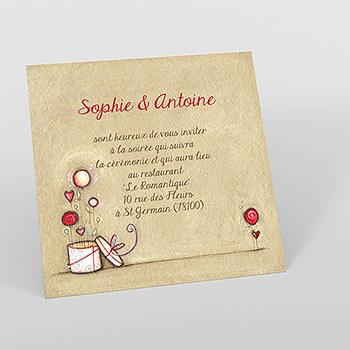 Carte d'invitation mariage Tendre espièglerie beige rose