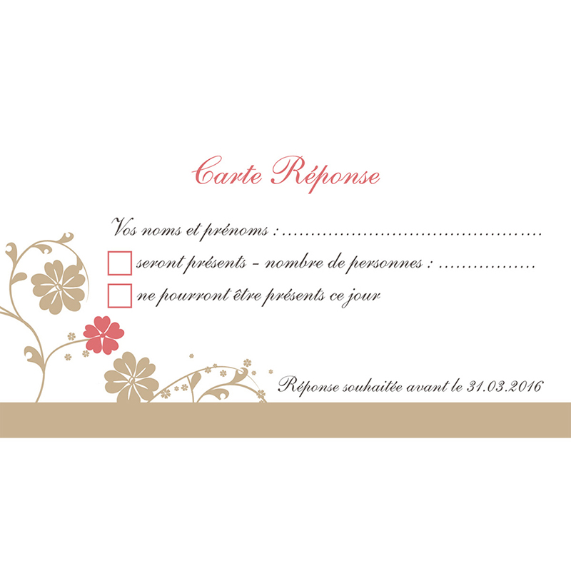 Carton réponse mariage Nuptial doré pas cher