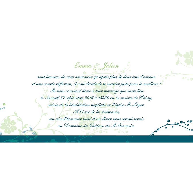 Faire-part de mariage Nuptial bleu