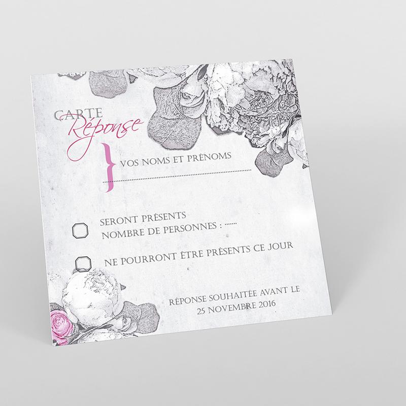 Carton réponse mariage Pivoines