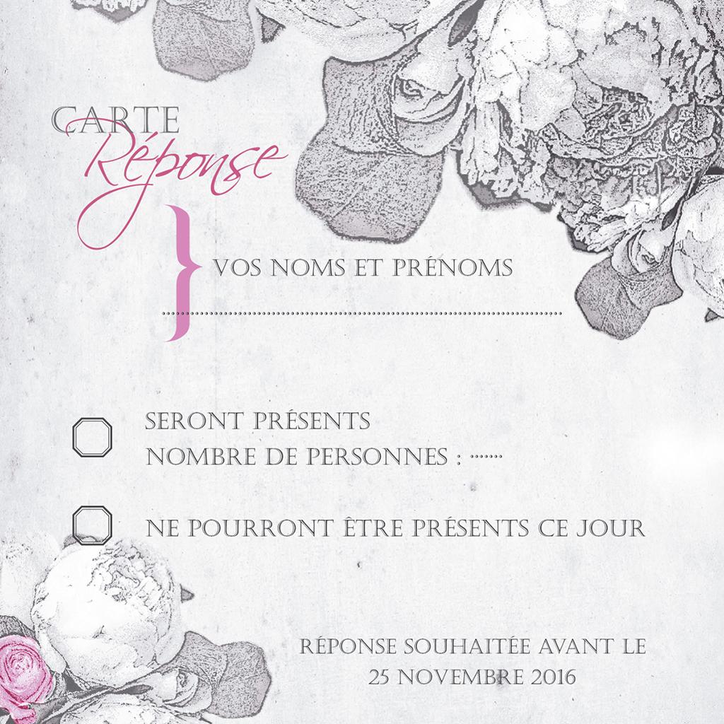 Carton réponse mariage Pivoines  pas cher
