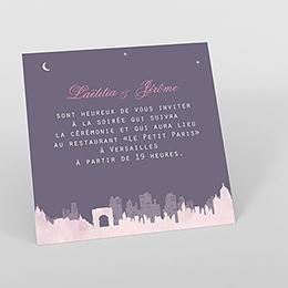 Carte d'invitation mariage Paris violine