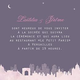 Carte d'invitation mariage Paris violine pas cher